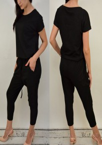 Black Plain Pockets Round Neck Drawstring Waist Nine's Long Jumpsuit