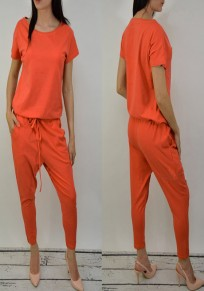 Orange Plain Pockets Round Neck Drawstring Waist Nine's Long Jumpsuit