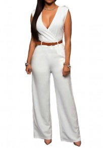White Belt Epaulet Pockets V-neck High Waisted Elegant Long Jumpsuit