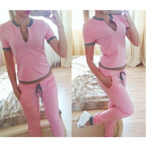 Pink Zipper 2-in-1 Round Neck Drawstring Waist Casual Long Jumpsuit