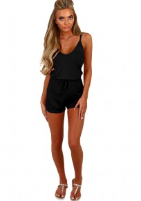 Black V-neck Drawstring Waist Mid-rise False 2-in-1 Short Jumpsuit