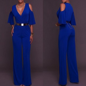 Blue Cut Out Off Shoulder Half Sleeve High Waisted Long Jumpsuit