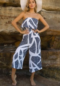 Grey Floral Bandeau Ruffle Sewing Mid-rise Fashion Long Jumpsuit