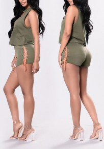 Green-Orange Patchwork 2-in-1 Hollow-out Lace-Up Casual Short Jumpsuit