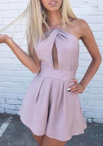 Pink Spaghetti Strap Tie Back Sashes Cut Out Open Back Short Jumpsuit