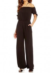 Black Pockets Off Shoulder Lace-Up High Waisted Elegant Long Jumpsuit