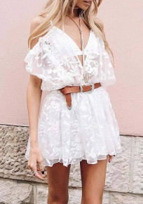 White Patchwork Lace Double-deck Spaghetti Strap High Waisted Short Jumpsuit