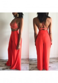 Orange Patchwork Hollow-out Lace Condole Belt Cross Back Long Jumpsuit