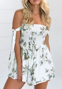 White Flowers Lace-Up Bandeau High Waisted Short Jumpsuit