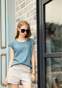 Blue 2-in-1 Round Neck Short Sleeve Loose Jumpsuit