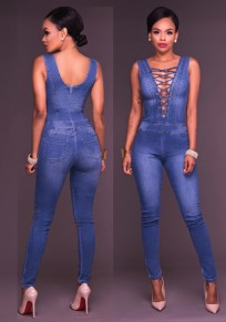 Blue Zipper Pockets Backless Cut Out Lace Up High Waisted Club Long Jumpsuit