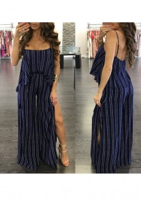 Dark Blue Striped Irregular Spaghetti Strap Slit Two Piece Casual Long Jumpsuit