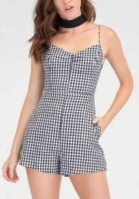 Black-White Plaid Pockets Cut Out Bow Spaghetti Strap Cute Short Jumpsuit
