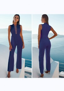 Blue Patchwork Grenadine Sashes High Waisted Party Wide Leg Long Jumpsuit