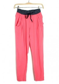 Pink Pleated Drawstring Waist Long Cotton Blend Pants