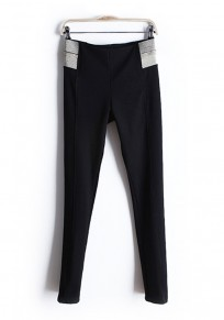 Black Patchwork Elastic Mid Waist Skinny Cotton Pant