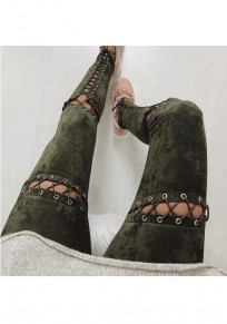 Green Plain Drawstring Hollow-out High Waisted Long Pants