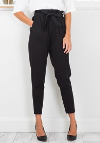 Black Bow Pockets Straight Casul Outdoors Long Pants