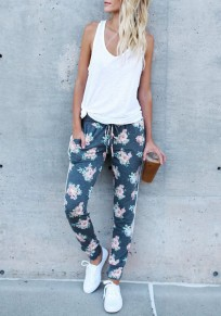 Grey Floral Drawstring Pockets Elastic Waist Casual Long Pants