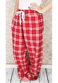 Red Plaid Drawstring Elastic Waist High Waisted Casual Wide Leg Long Pants