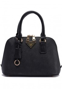 Black Cotton Lining PU Leather Tote