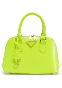 Green Cotton Lining PU Leather Tote