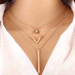 Golden Fashion 3-in-1 Alloy Pendant Necklace