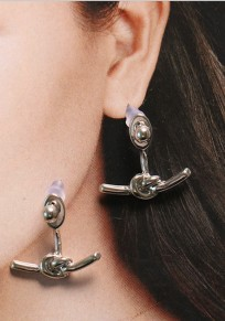 Silver Fashion Alloy Twisted Knotted Bow Stud Earring