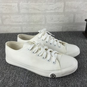 White Round Toe Flat Casual Canvas Shoes