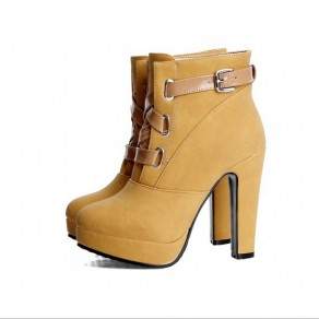 Yellow Round Toe Chunky Buckled Fashion Martin Boots