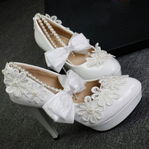 White Round Toe Stiletto Bow Pearl Fashion High-Heeled Shoes