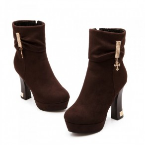 Brown Round Toe Chunky Rhinestone Casual Ankle Boots