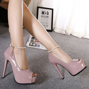 Light Purple Piscine Mouth Stiletto Chain Casual High-Heeled Shoes