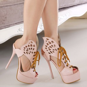 Pink Piscine Mouth Stiletto Hollow-out Fashion Sandals