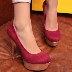 Red Round Toe Stiletto Casual High-Heeled Shoes