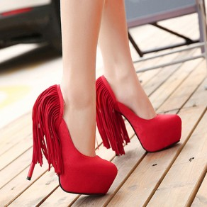 Red Round Toe Stiletto Tassel Fashion High-Heeled Shoes