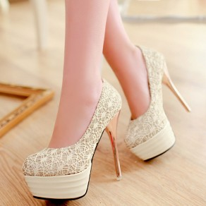 Beige Round Toe Stiletto Floral Print Sweet High-Heeled Shoes