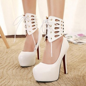 White Round Toe Stiletto Casual High-Heeled Shoes