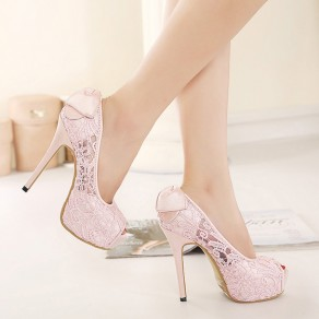 Pink Piscine Mouth Stiletto Bow Sweet Lace Sandals