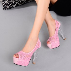 Pink Piscine Mouth Chunky Fashion Lace Sandals