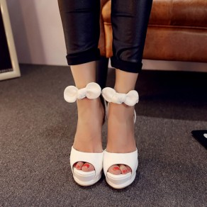 White Piscine Mouth Stiletto Bow Buckled Casual Sandals