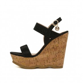 Black Piscine Mouth Wedges Buckled Casual Sandals