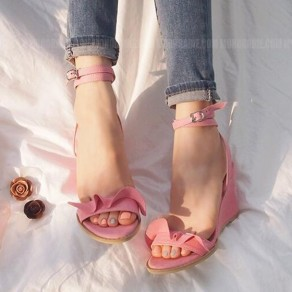Red Piscine Mouth Wedges Buckled Sweet Sandals