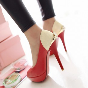 Red Piscine Mouth Stiletto Casual Ankle Sandals