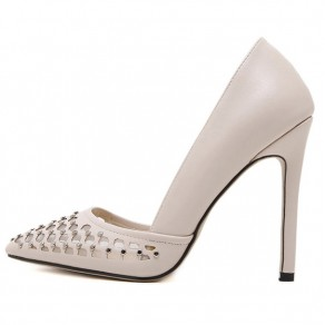 Apricot Point Toe Stiletto Rivet Casual High-Heeled Shoes