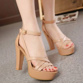 Apricot Piscine Mouth Chunky Buckled Casual Sandals