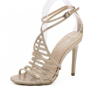 Golden Piscine Mouth Stiletto Buckled Casual Sandals