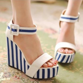 White Piscine Mouth Wedges Striped Print Buckled Fashion Sandals