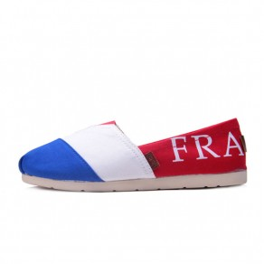 Red Round Toe Flat Letter Print Casual Canvas Shoes