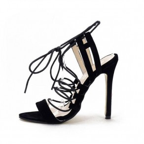 Black Piscine Mouth Stiletto Lace-up Casual Sandals